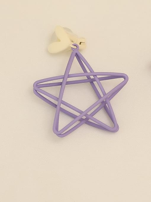 Purple [ear clip] Copper Enamel Star Minimalist Stud Earring
